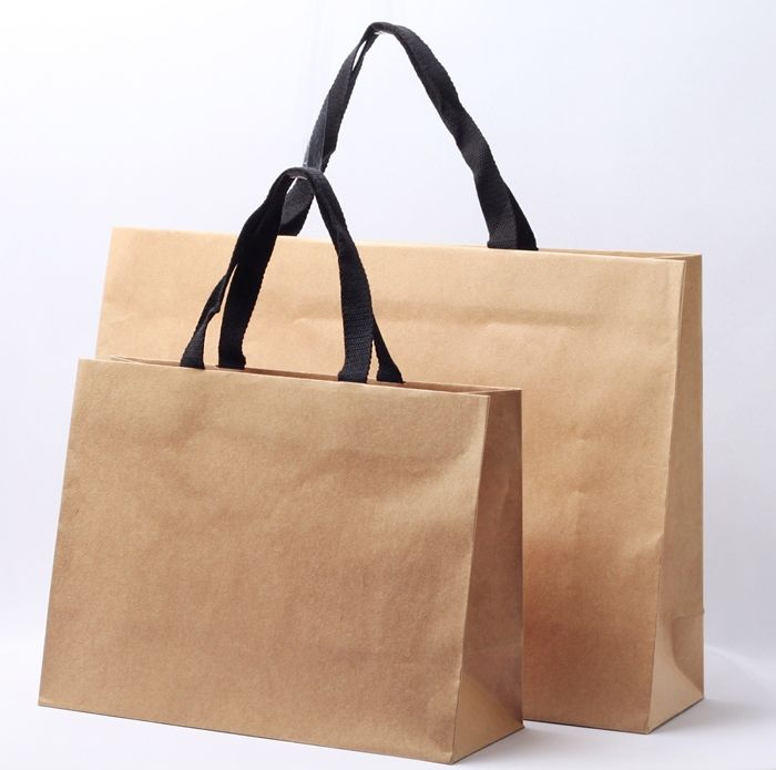 Natural Craft Carrier Bag Black Cotton Straps Premium Paper Special Glossy Luxury Strap Handles