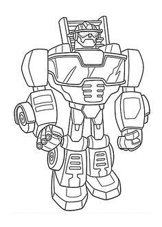 Chase Bot Coloring Pages For Kids Printable Free Rescue Bots