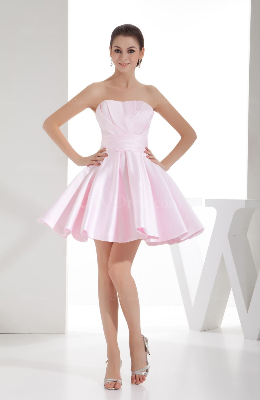 Blush Cute A Line Sleeveless Backless Satin Bridesmaid Dresses Uwdress