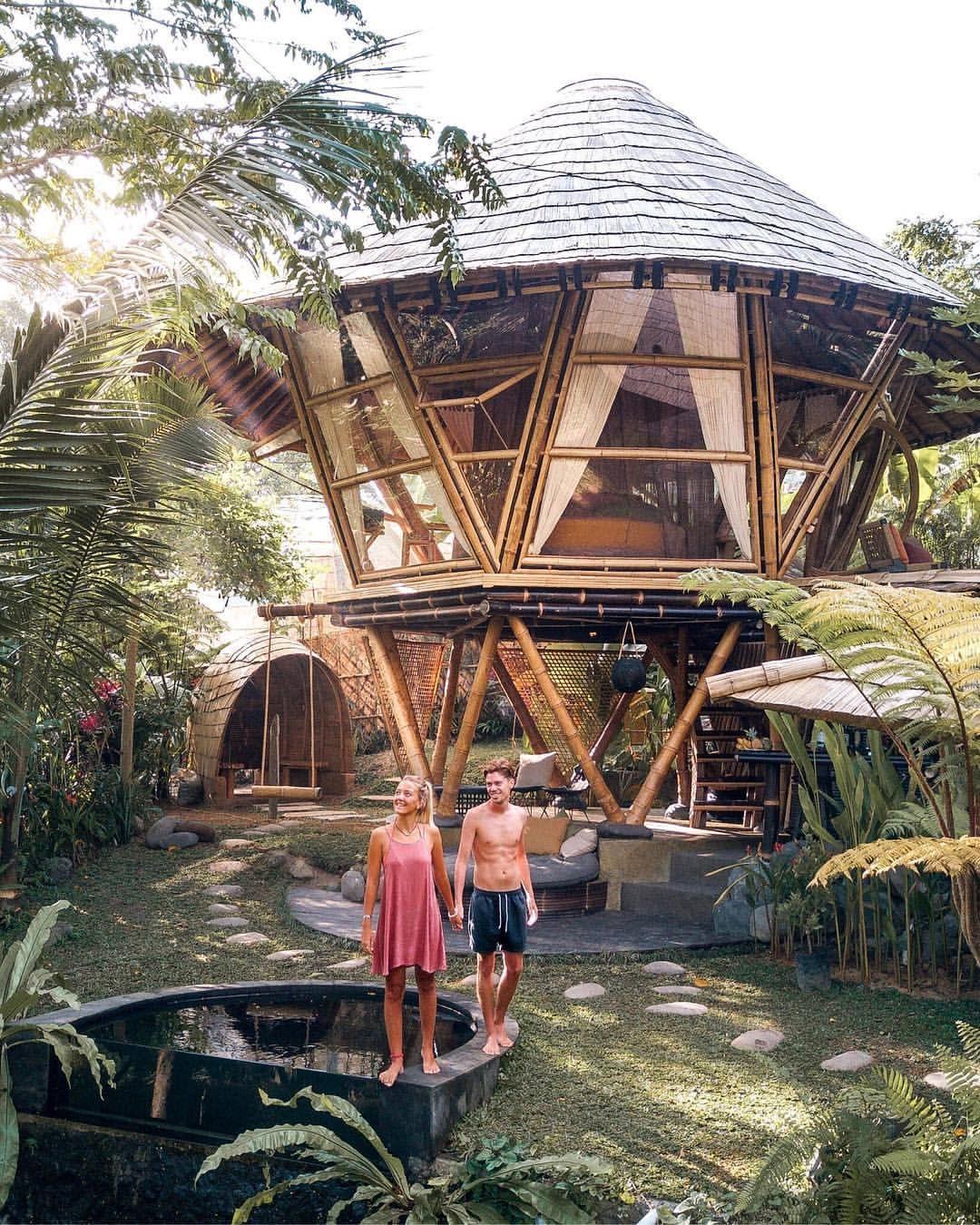 Hideout Bali - Hideout Beehive Bali - Bamboo Home - Quirky Accommodation - Cool Hotels Bali - Bali Swing - Instagram Spots Bali - East Bali Indonesia - Wanderers & Warriors - Charlie & Lauren UK Travel Couple - Rice Terraces - Rice Fields - Sunrise Sunset - Dress - Style - Cap - Boyfriend - Girlfriend - Palm Trees