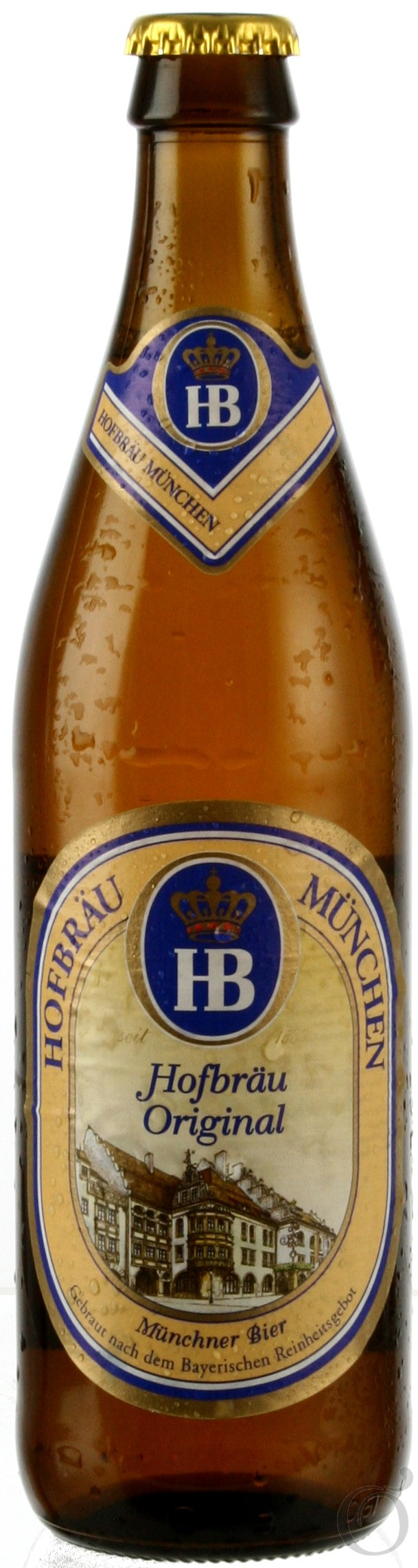 Hofbräu Original Cerveza alemana del tipo Munich Helles Lager de color dorado. Hofbräuhaus es un símbolo de la hospitalidad de Munich. Más que cualquier otro, Hofbräu original encarna la atmósfera especial de la cerveza que se toma en la capital de Munich, y es exportada a los cuatro rincones del planeta. Su sabor refrescante, amargo  la han hecho famosa en todo el mundo. Una cerveza con el carácter de Munich. Alcohol 5,1%
