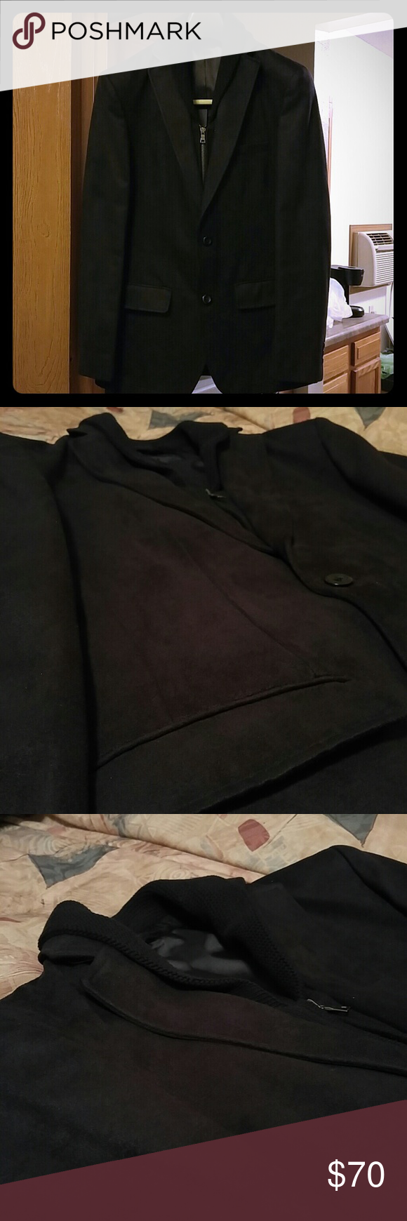 Black velvet blazer Black velvet blazer with attachable knit collar. New and in good condition G2000 Suits & Blazers Sport Coats & Blazers