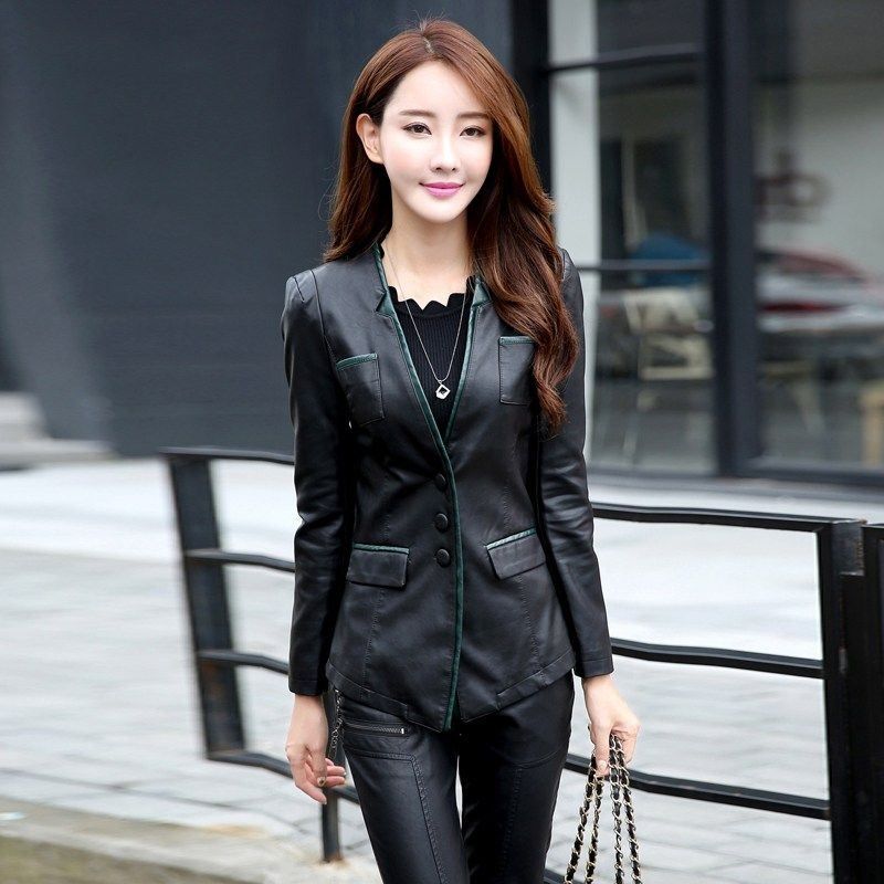 6c7b1d0c5a0aa Buy US  33.62 women s PU leather jacket spring and autumn suit collar slim  women black motorcycle leather jackets plus size M-5XL 928 . Search here   Womens ...
