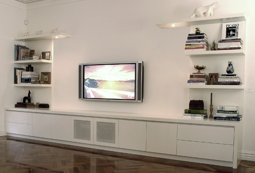 Planera large built in entertainment unit with floating How to build an entertainment wall unit