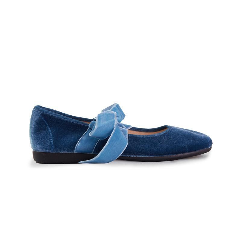 d4e4cb03005 Girl s Blue Velvet Lace-up Ribbon Ballerinas