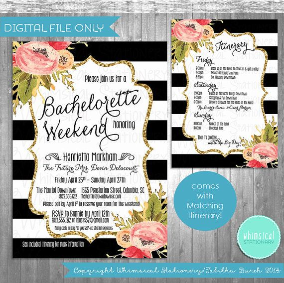 Bachelorette Party Weekend Invitation & By