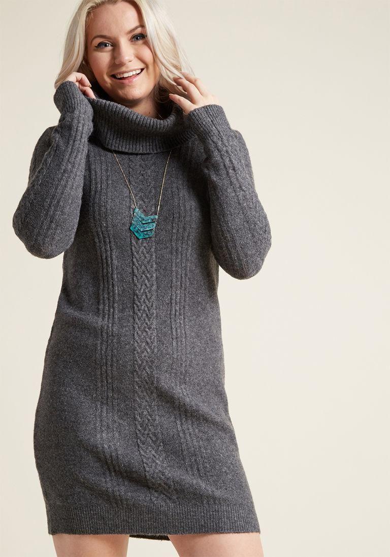 Cowl XxsNeckModcloth In Sweater Neck Grey Dress With bygYv76f