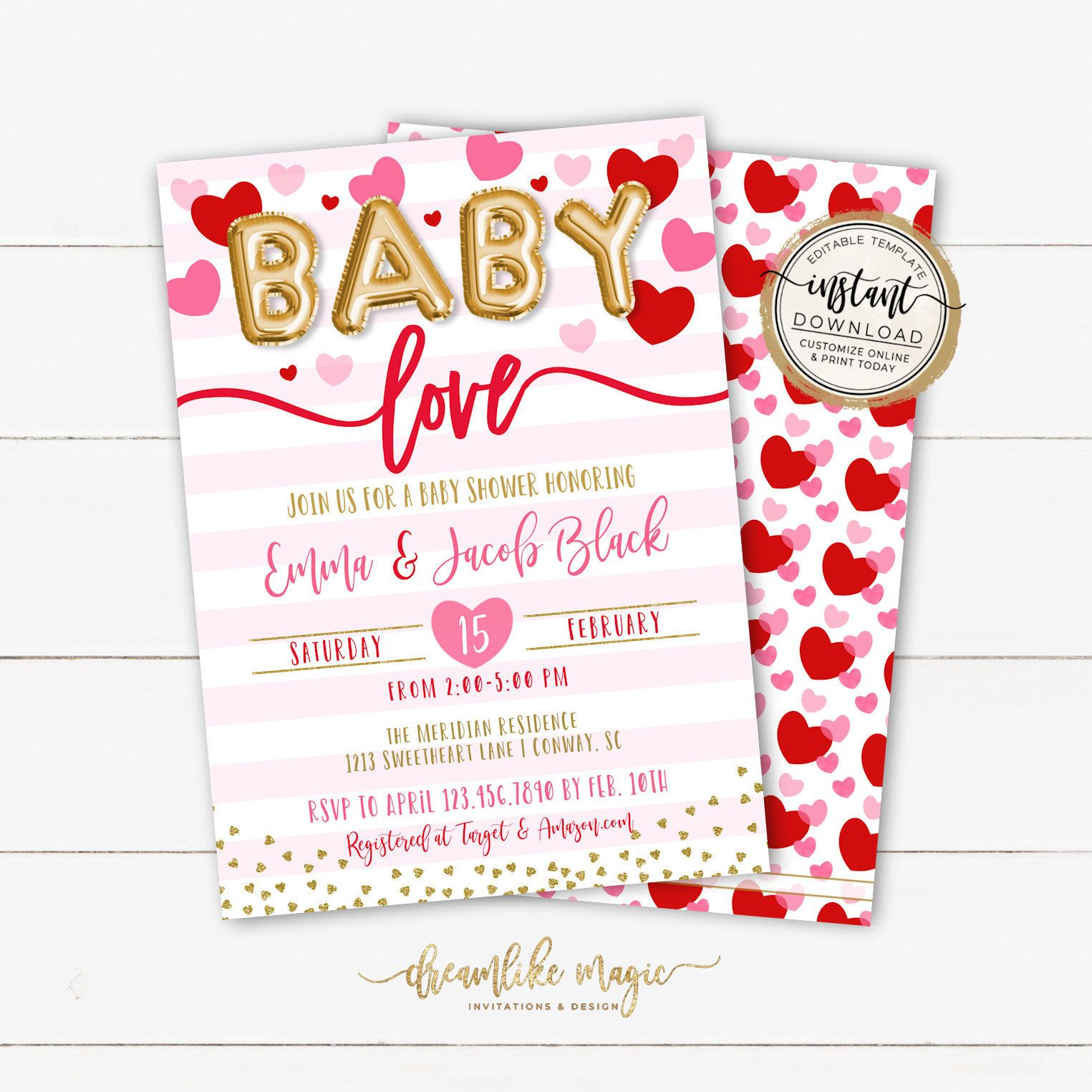 A Little Sweetheart Baby Shower Invitation Editable Template Etsy Valentines Baby Shower Baby Shower Invitations Valentines Day Baby