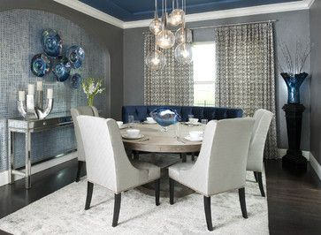 Small Formal Dining Room Not Necessarily This Shade Blue But Copper And Navy Cieling Window Chandelier Rug Side Table Rounded Bench Seating