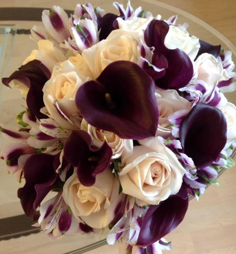 Purple Calla Lilies and Ivory Rose Wedding Bouquet. By