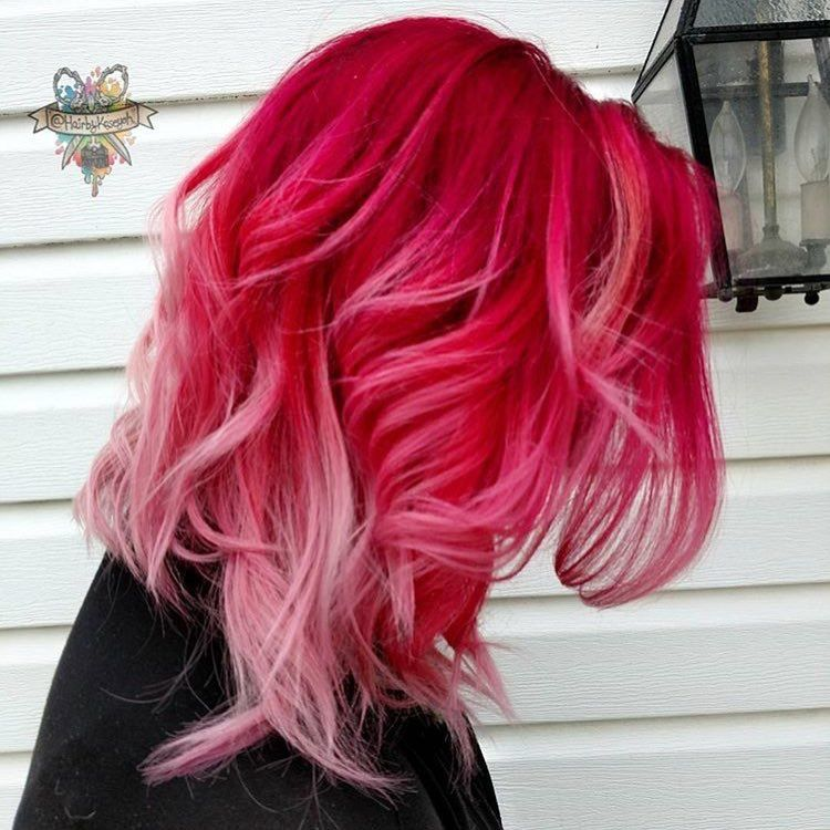 Beauty Fantasy Unicorn Purple Violet Red Cherry Pink Yellow Bright Hair Colour Color Coloured Colored Fire Style Curls Haircut Lilac Lavender Shor
