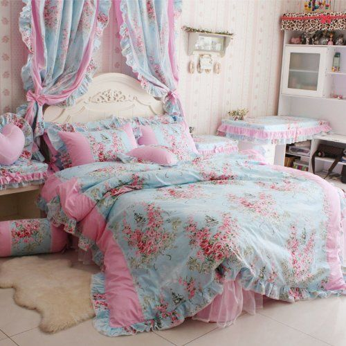 FADFAY Home Textile,Romantic Rose Print Bedding Sets,Blue Pink Bedding Sets ,Princess