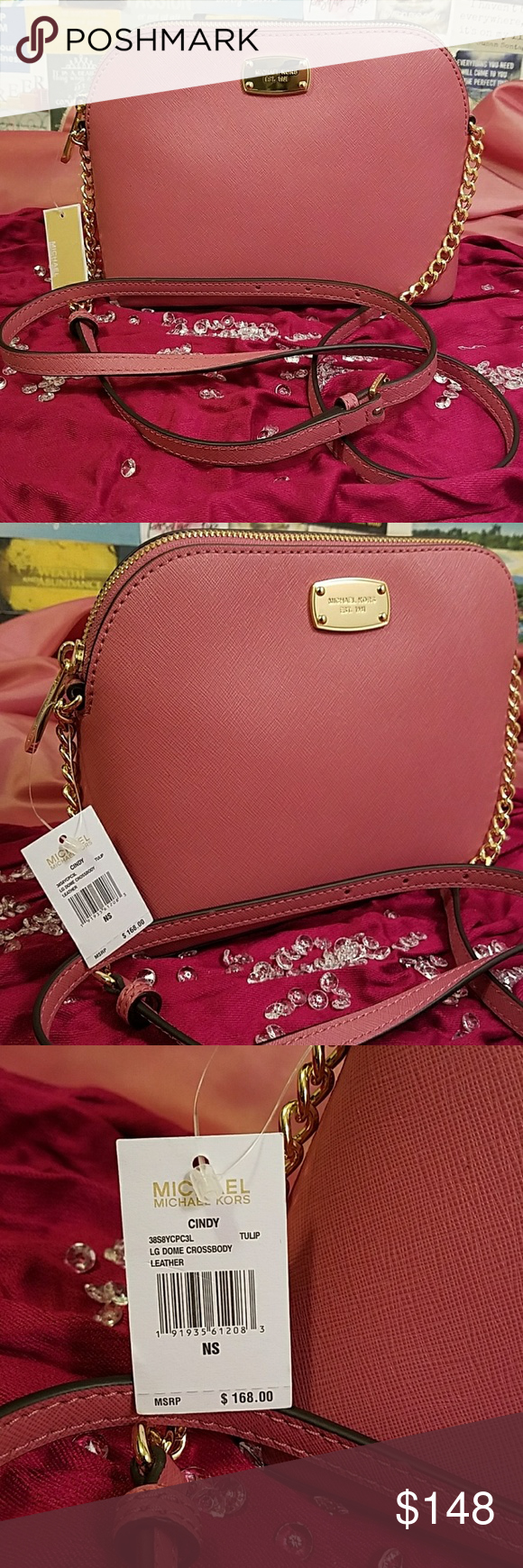 8ee6fbe92674 Michael Kors LG Dome Crossbody Leather Purse! The color is Tulp. Which is a  beautiful blush color pink. It has gold chain trimmings on each ...
