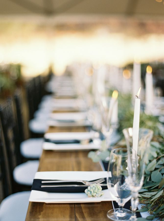 black napkins on white square charger plates on top of rustic wooden harvest dining tables & Fall Rustic Chic Backyard Wedding | Rustic chic Black napkins and ...