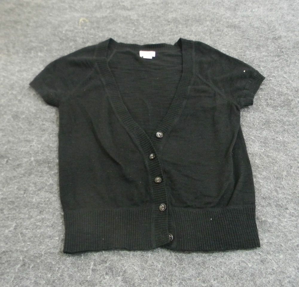 Mossimo Black Short Sleeve Button-Up Cardigan Sweater Size XS ...