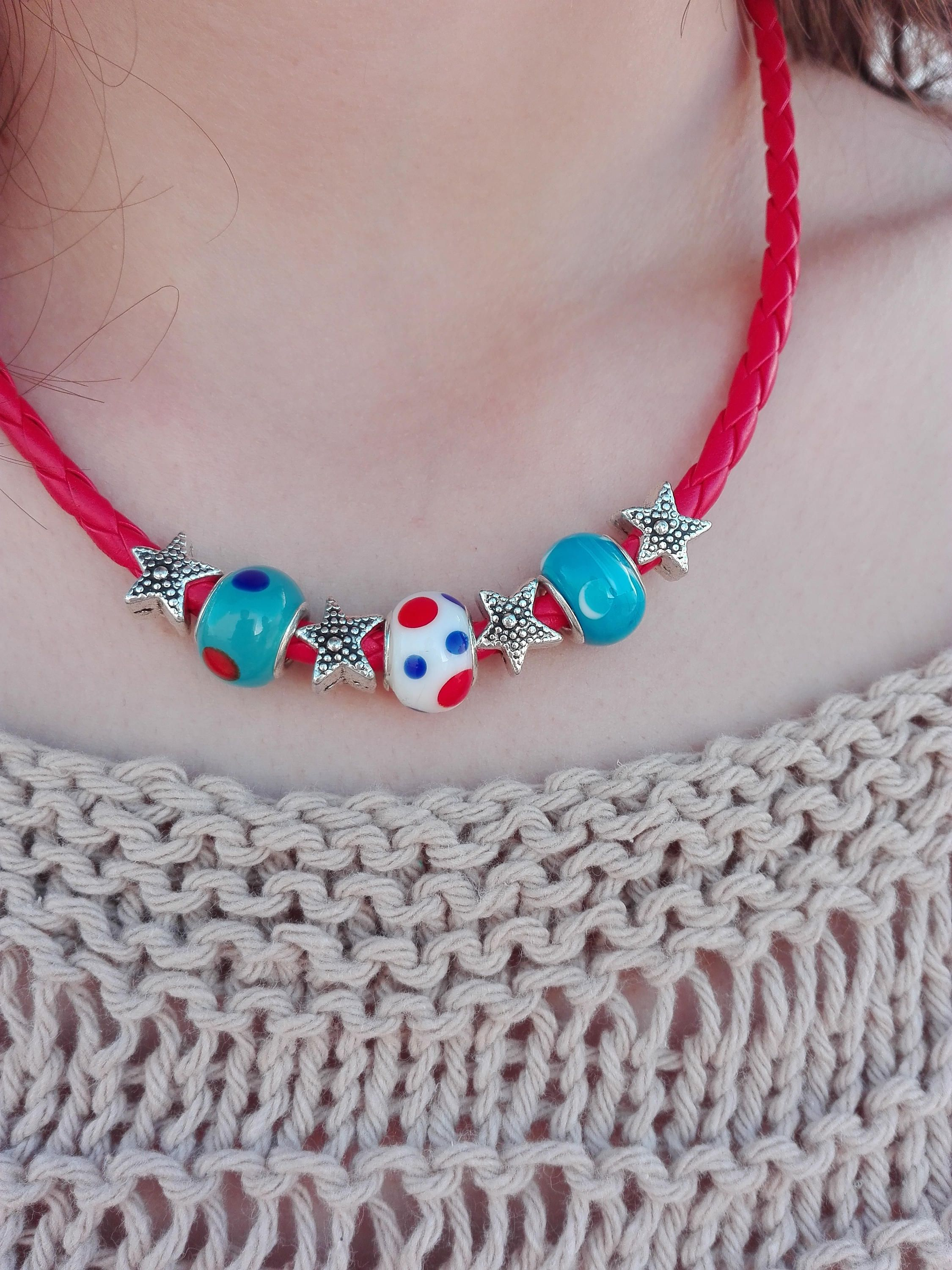 Navy Necklace in red, with blue, white and red glass beads and metal starfish silver beads by InnerFeeling on Etsy