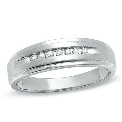 Men S 1 10 Ct T W Diamond Wedding Band In 10k White Gold