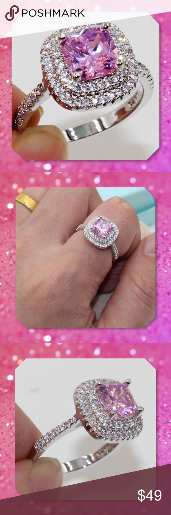 JUST IN🆕Pink Double Halo 925 Silver Ring | Ring boxes, Silver rings ...