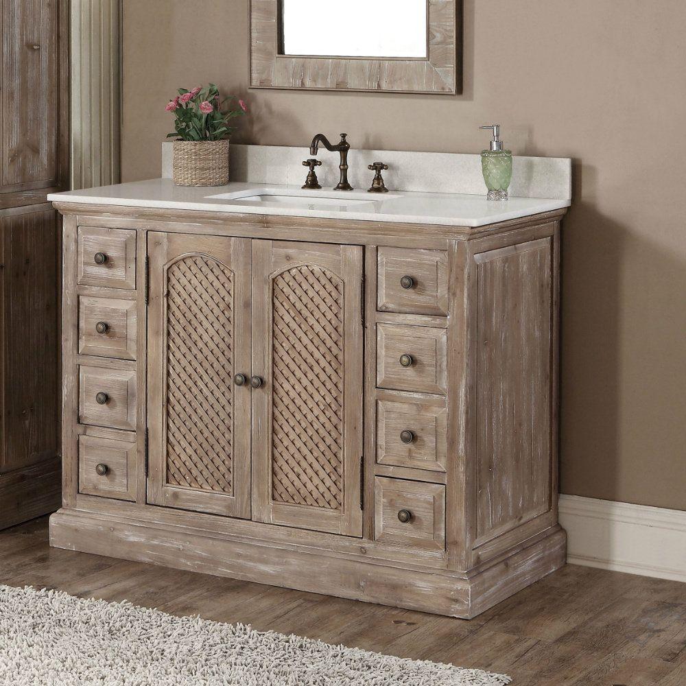 Rustic Style Dark Limestone Top 48 Inch Bathroom Vanity 48 Inch