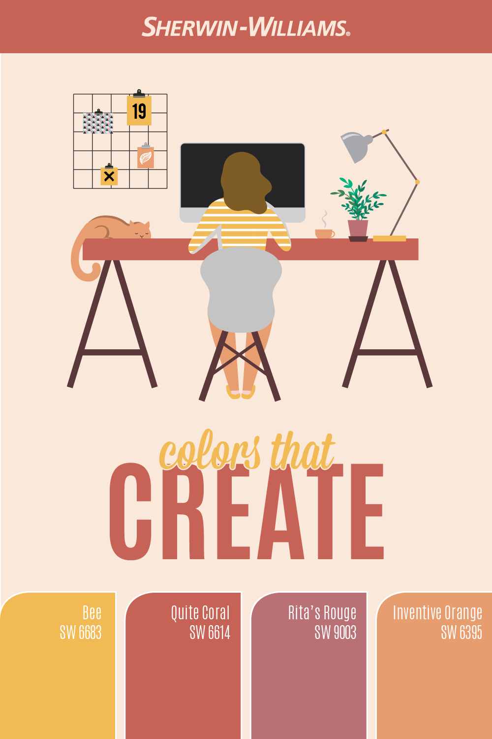 Creative Home Office Paint Colors In 2020 Sherwin Williams Sherwin Williams Paint Colors Orange Paint Color Sherwin Williams