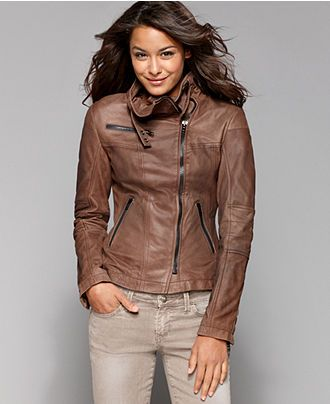 Buffalo David Bitton Jacket, Leather Motorcycle - Womens Coats ...
