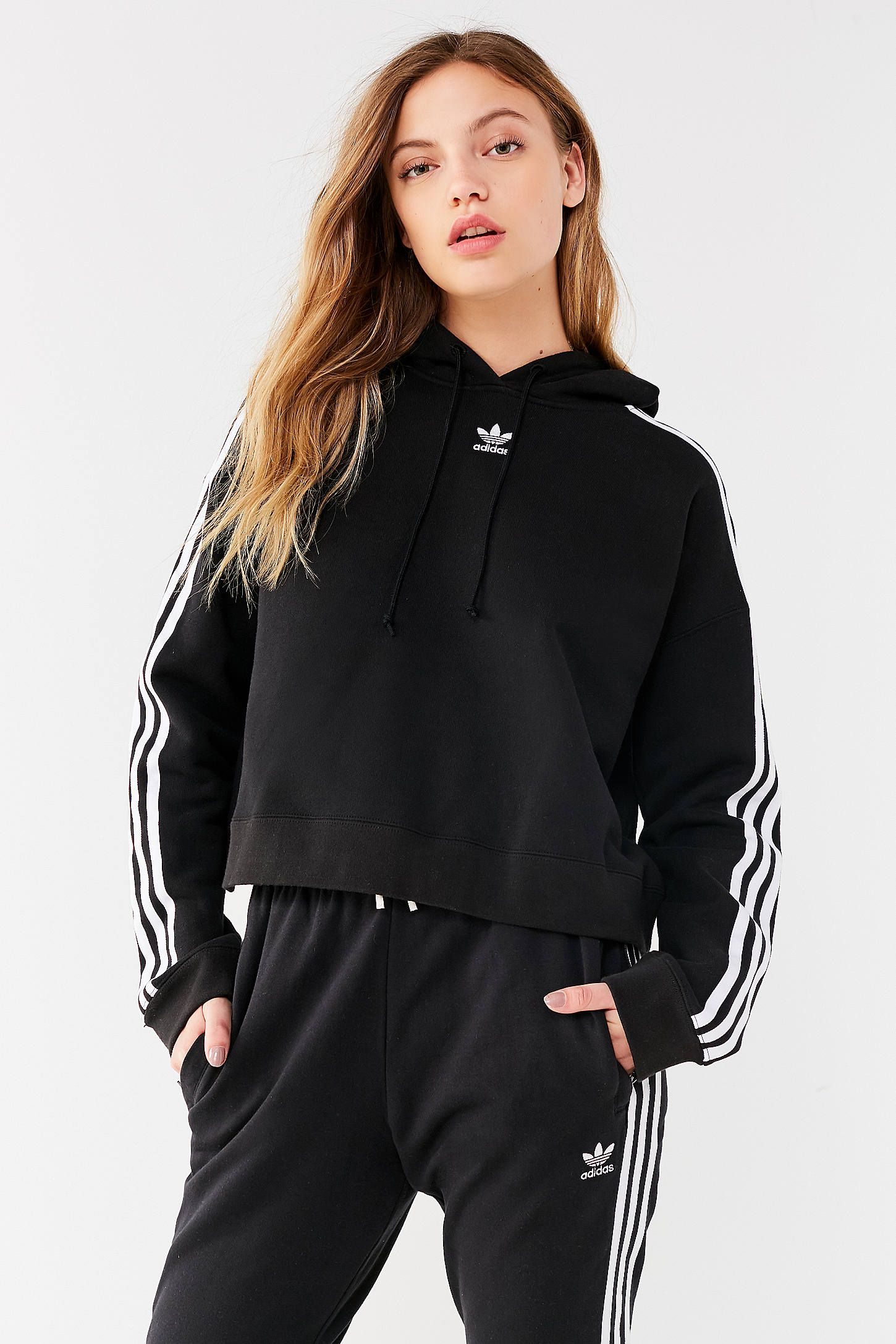 adidas originals adicolor 3 stripes cropped hoodie sweatshirt