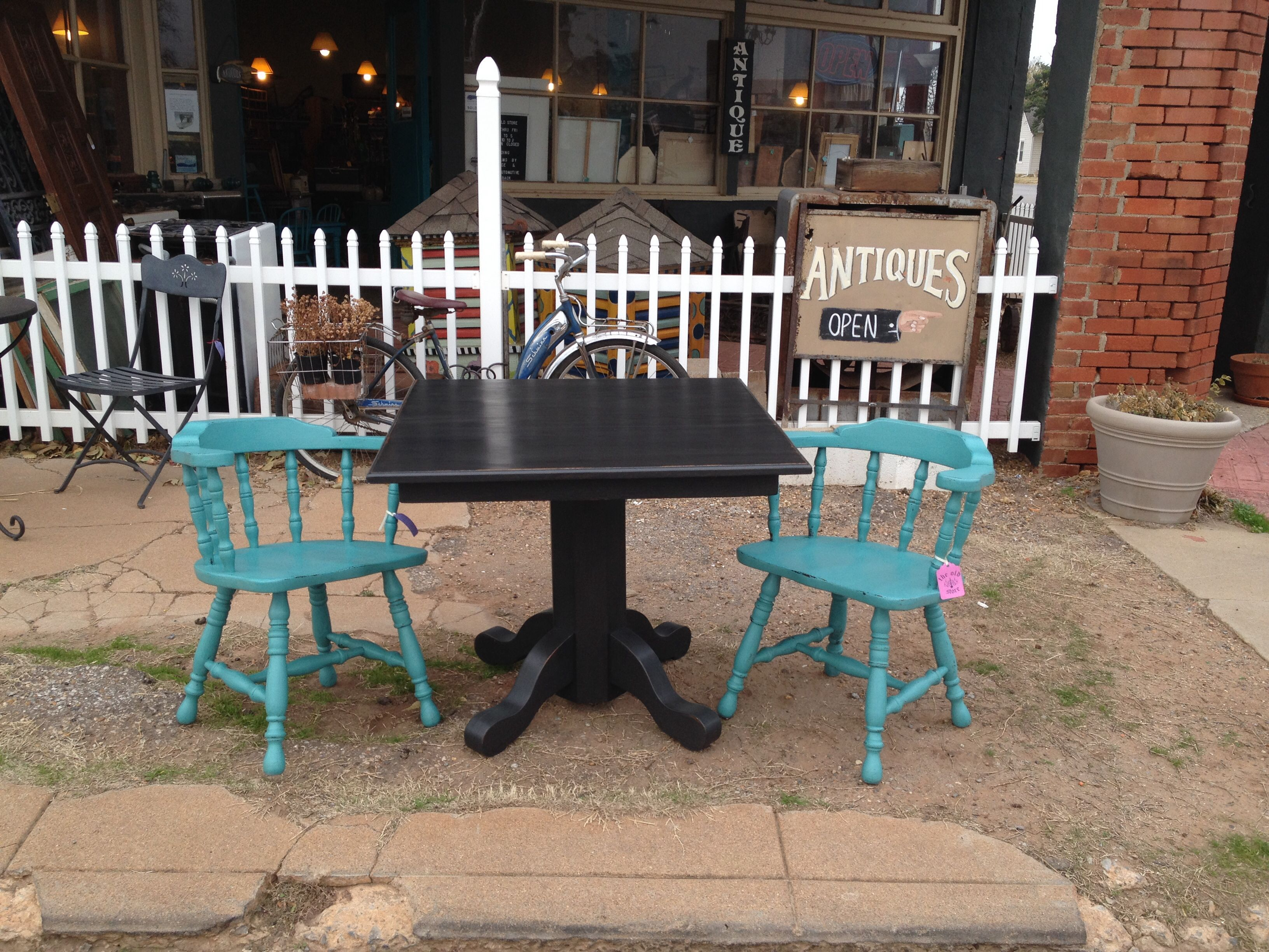 Square Cafe Style Table And Set Of Pub Chairs Done In Apc
