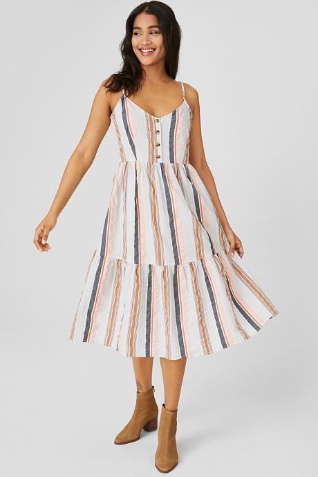 Fit Flare Kleid Bio Baumwolle Gestreift Fit And Flare Kleid Gestreiftes Kleid Outfit Kleider