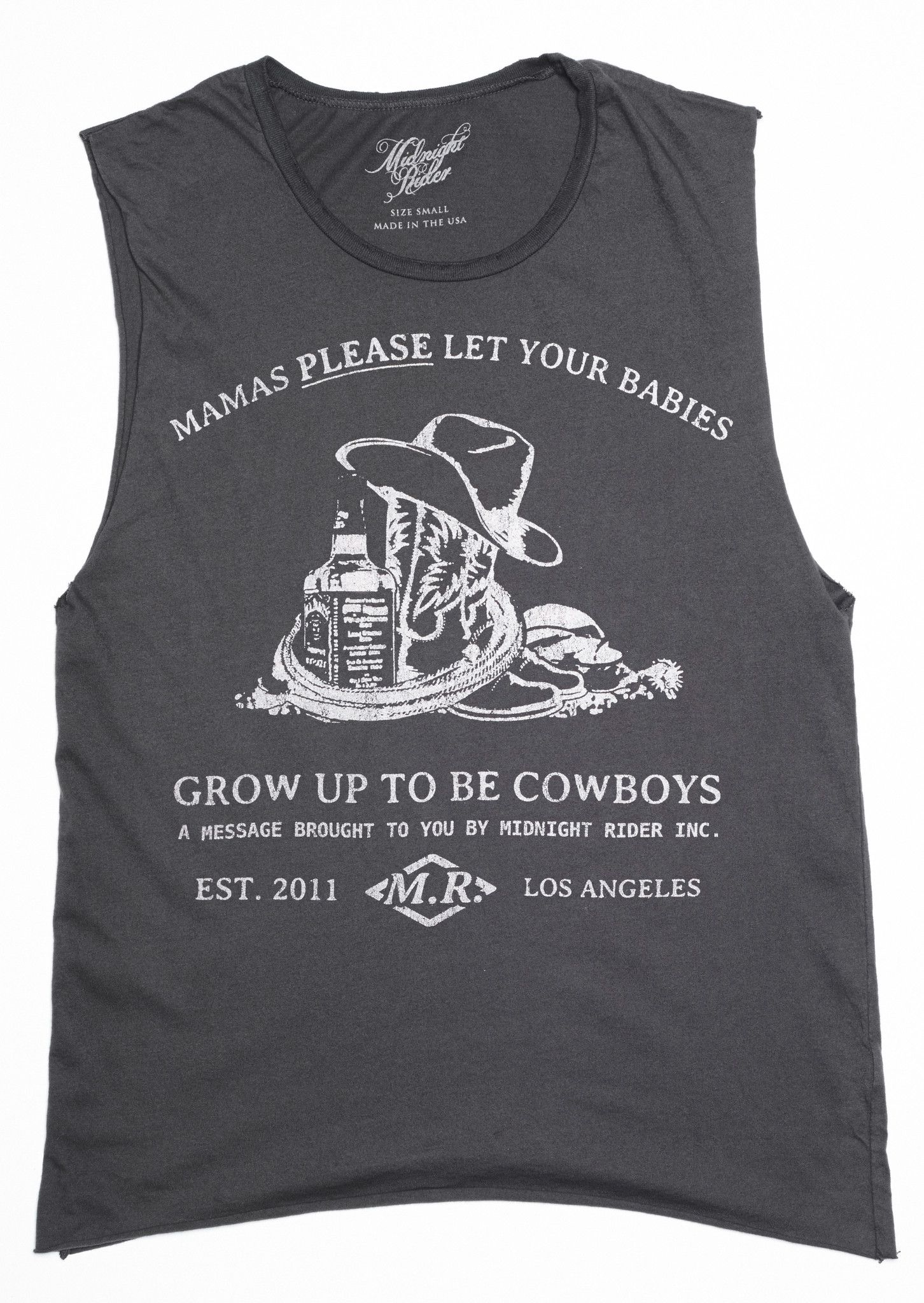 0e49f4f4 Please Let Your Babies Grow Up To Be Cowboys Muscle Tee - Vintage Black