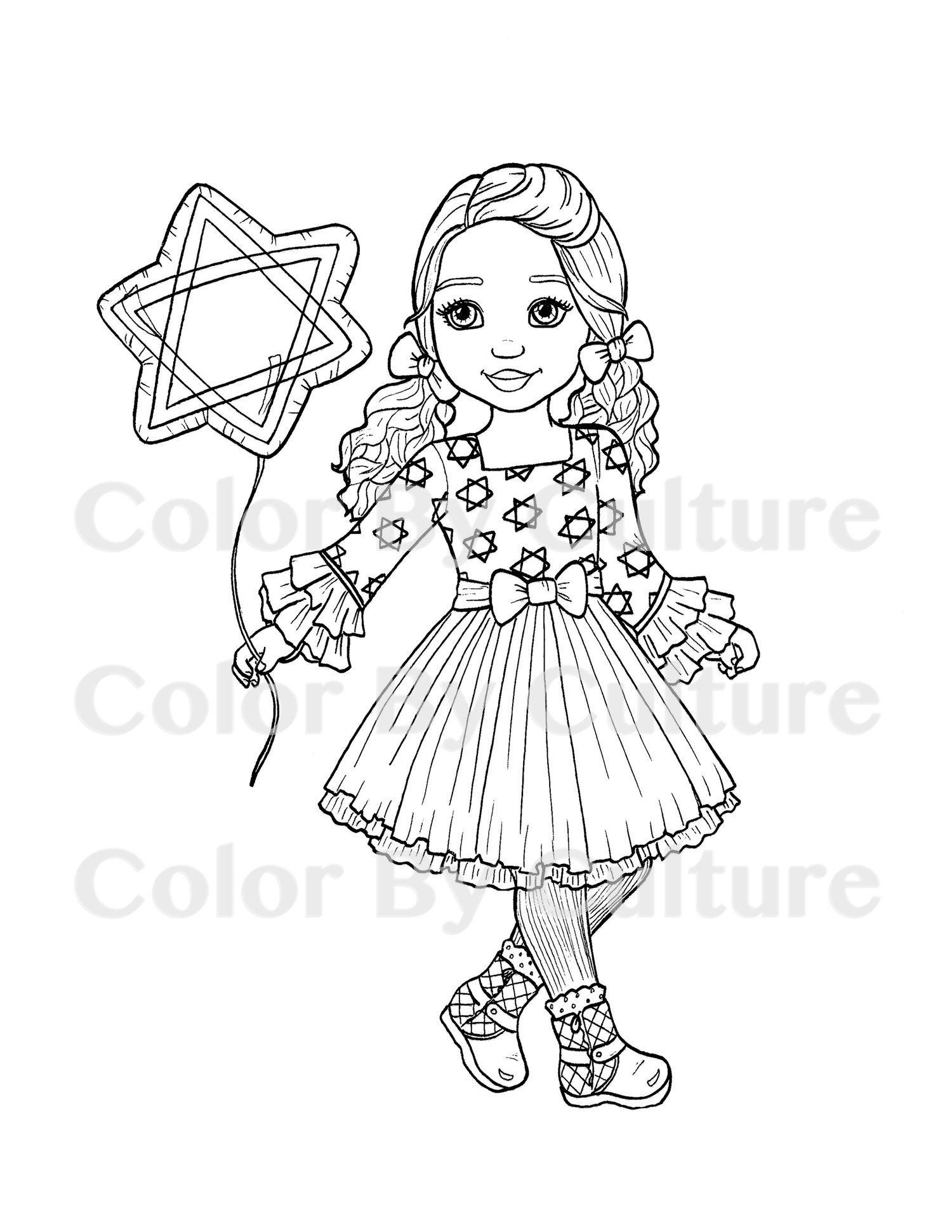 Hanukkah Girl Coloring Page Digital Stamp Coloring Pages For