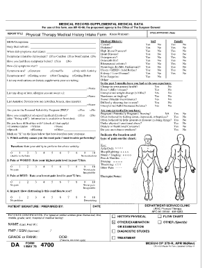 Medical History Form Physical Therapy  Forms