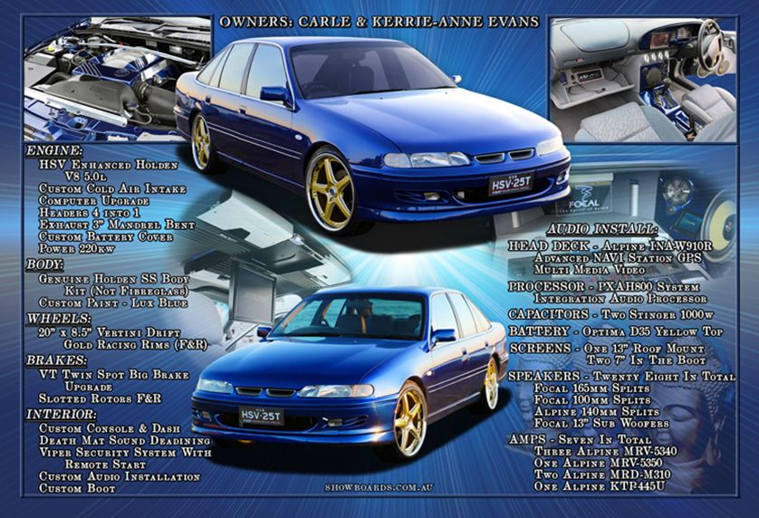 Holden Commodore VS show board for a stereo competition