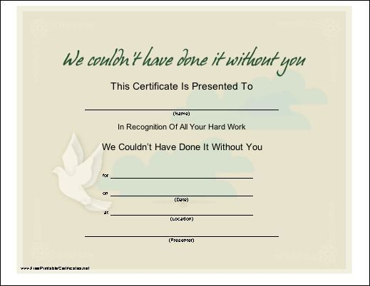 A printable certificate of recognition with a dove, especially - certificate of attendance template free download