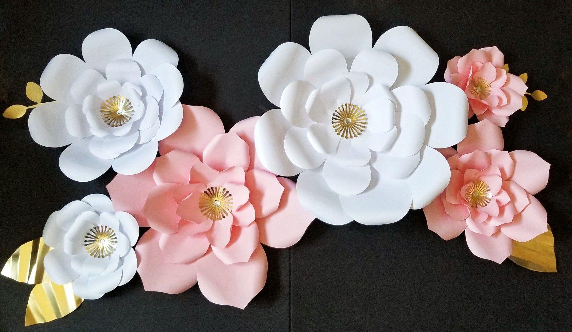 Pink Gold White Paper Flower Display Backdrop Handmade Cricut