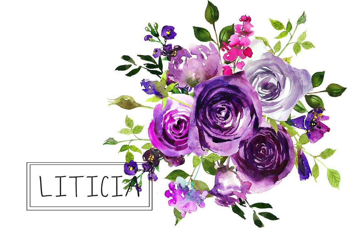 Purple Flowers Watercolor Bouquets by whiteheartdesign on