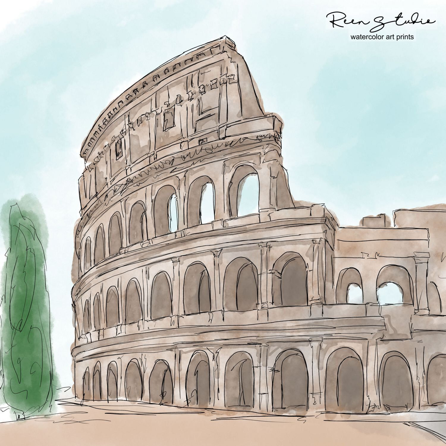 The Coloseum Rome Watercolor Wall Art Watercolor Art Prints Colorful Watercolor Wall Art Watercolor Art