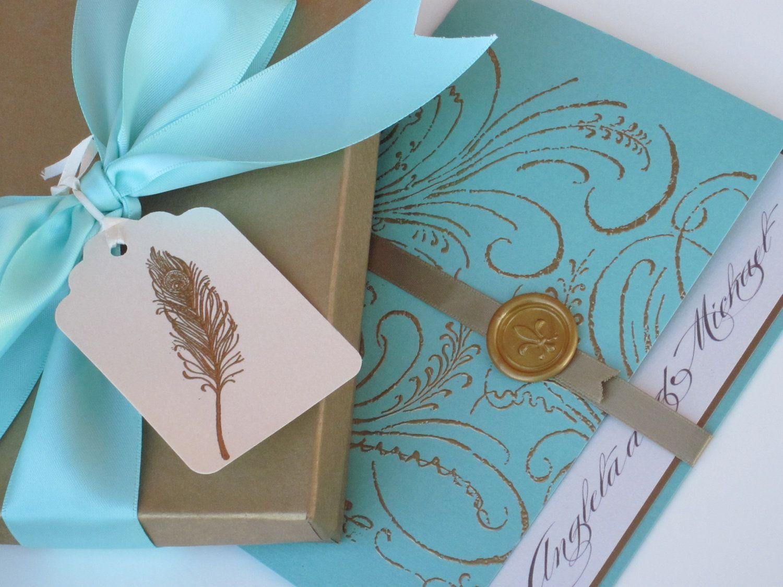 Boxed Luxury Wedding Invitation - Marie Antoinette inspired -Regal ...