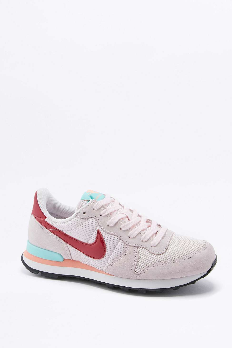 nike internationalist pink and red trainers