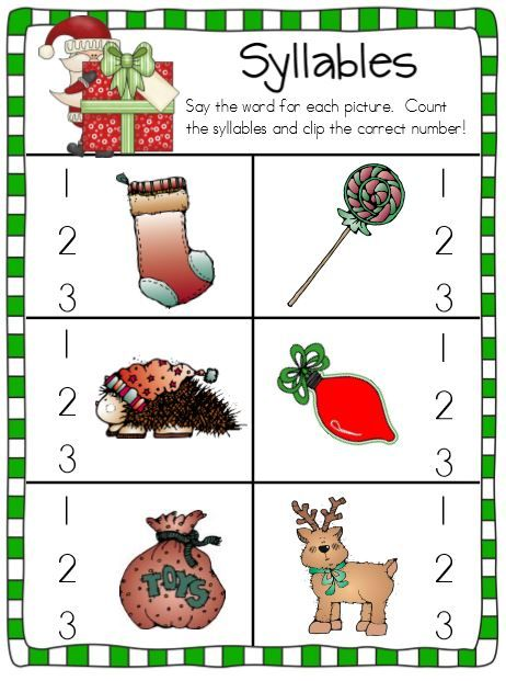 Santa in Kindergarten Syllables and Sight Words | Syllables activity ...