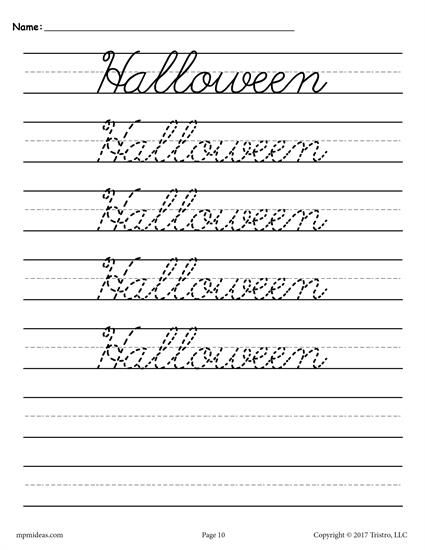 10 Free Seasons And Holidays Cursive Handwriting Worksheets