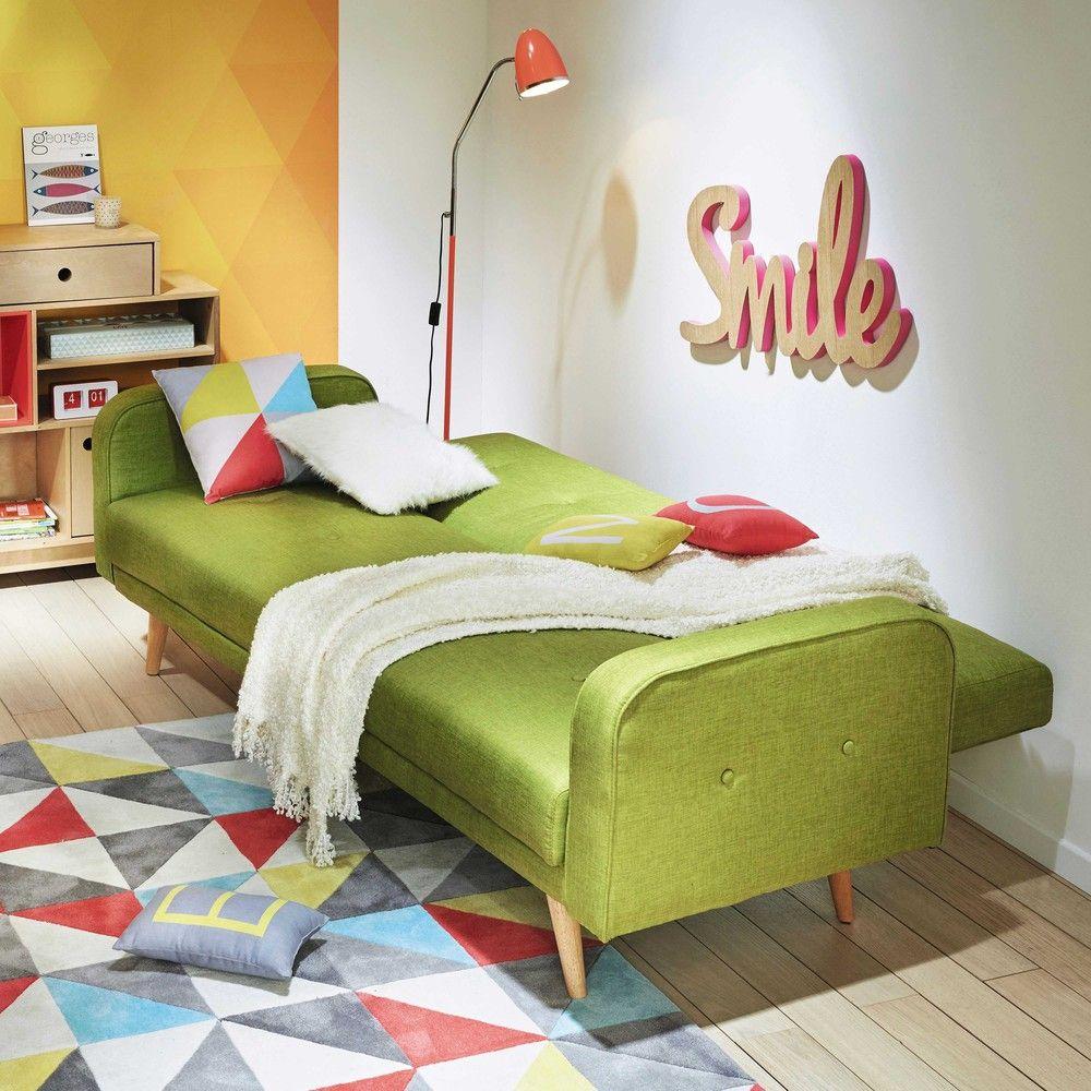 Green Fabric Sofa Bed Lime Green 3 Seater Clic Clac Sofa Bed Broadway Maisons Du Monde Dengan Gambar