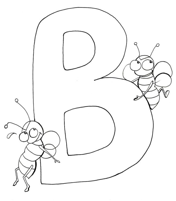 18++ B is for bee coloring page download HD