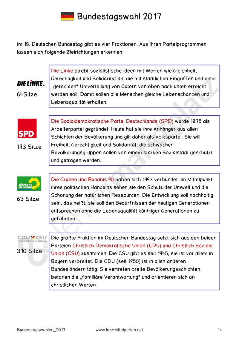 Die Wahl zum 19. Deutschen Bundestag – Politik & Wirtschaft ...