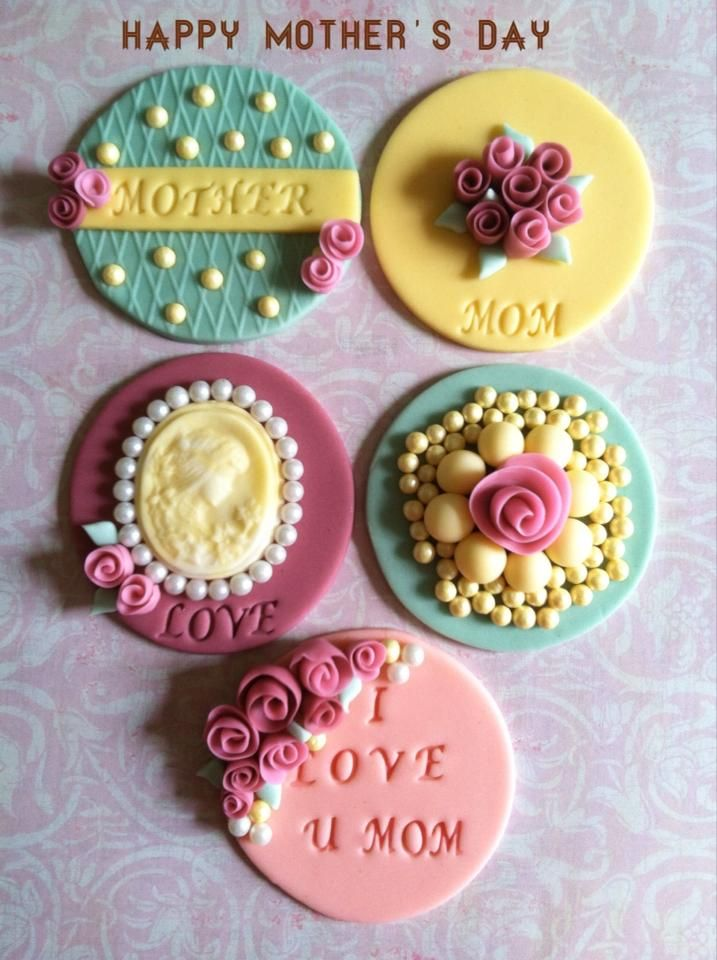 Mother S Day Cupcake Toppers Edible Mothers Day Cupcakes Fondant Cake Toppers Fondant Cupcakes