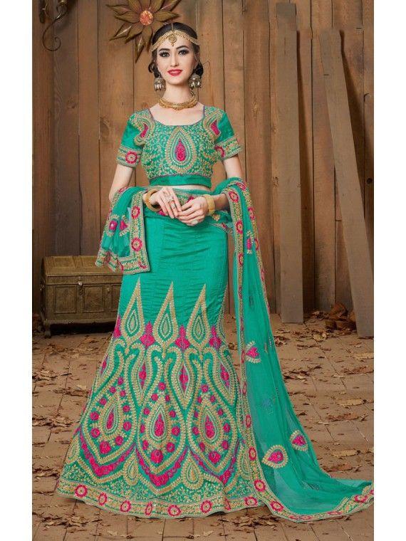 08ce53367 Lovely Jade Green Designer Indian Lehnga Choli