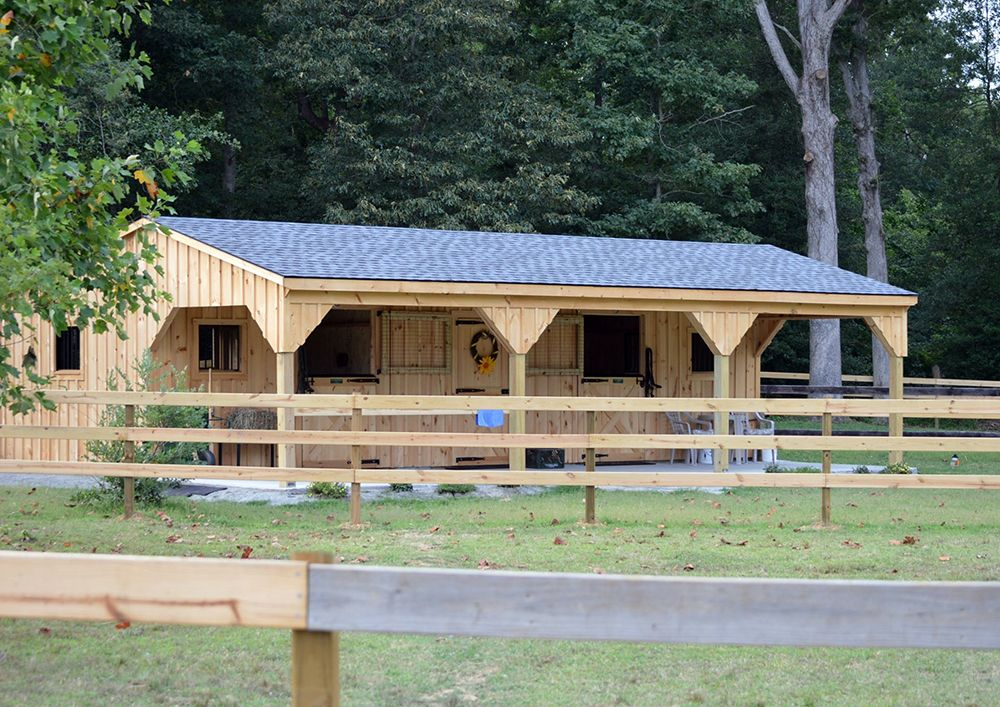 12x36 Shedrow Horse Barn With 10 Overhang Includes 2