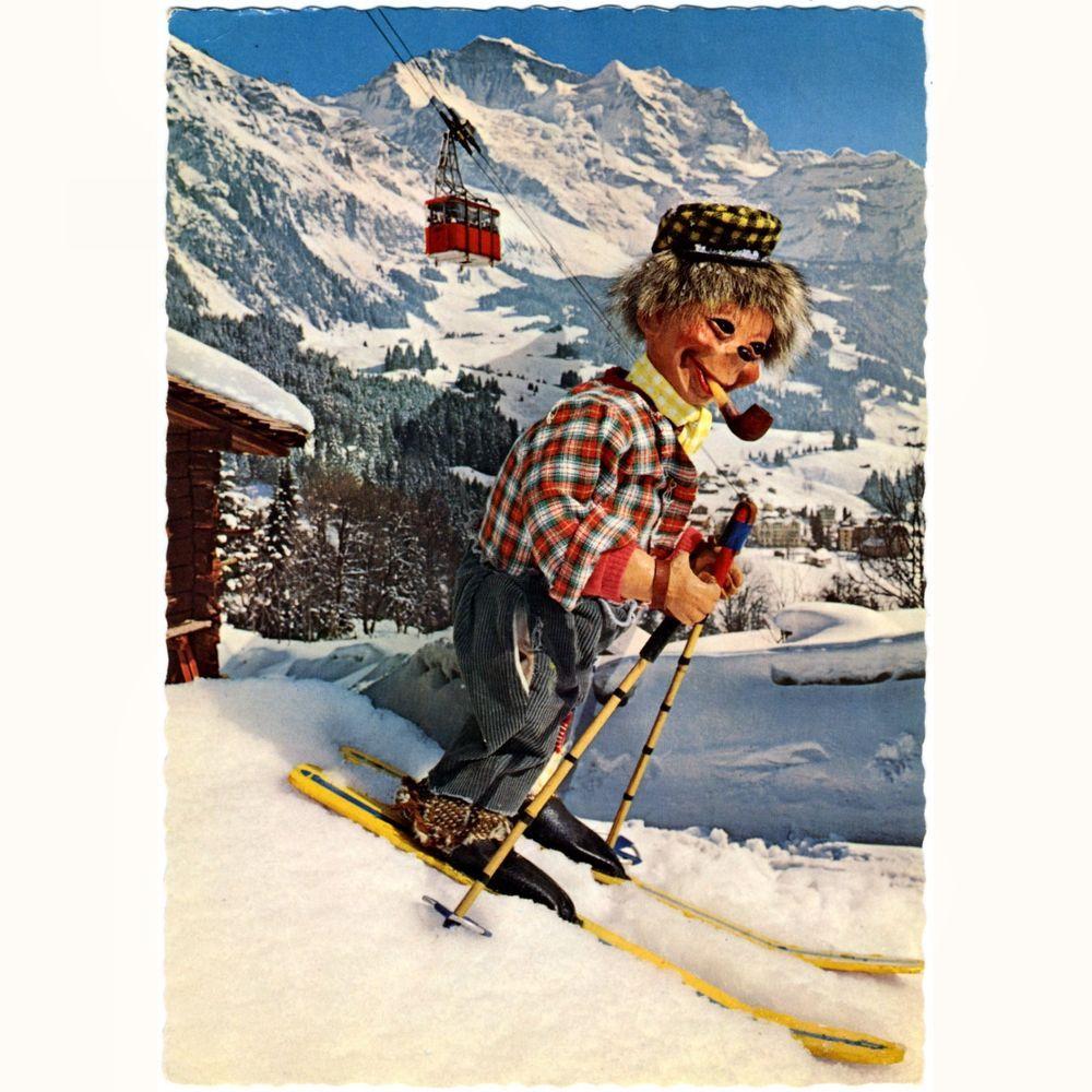AK Postkarte Mecki Igel (Schweiz) Mecki als Skifahrer in den Schweizer Bergen in Sammeln & Seltenes, Ansichtskarten, Motive | eBay