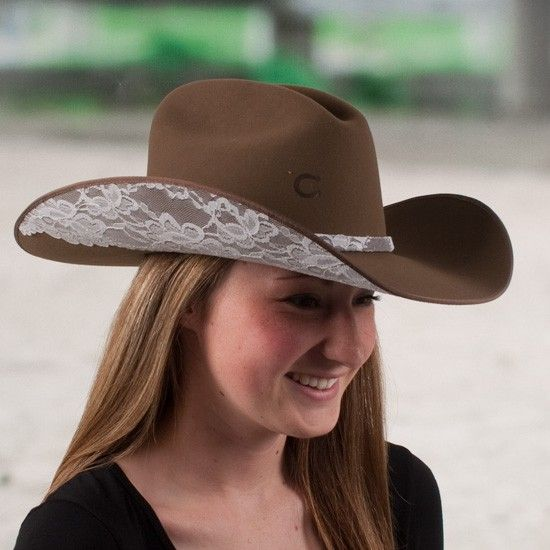 Charlie 1 Horse Ladies' Leather & Lace Hat www.eliswesternwear.com