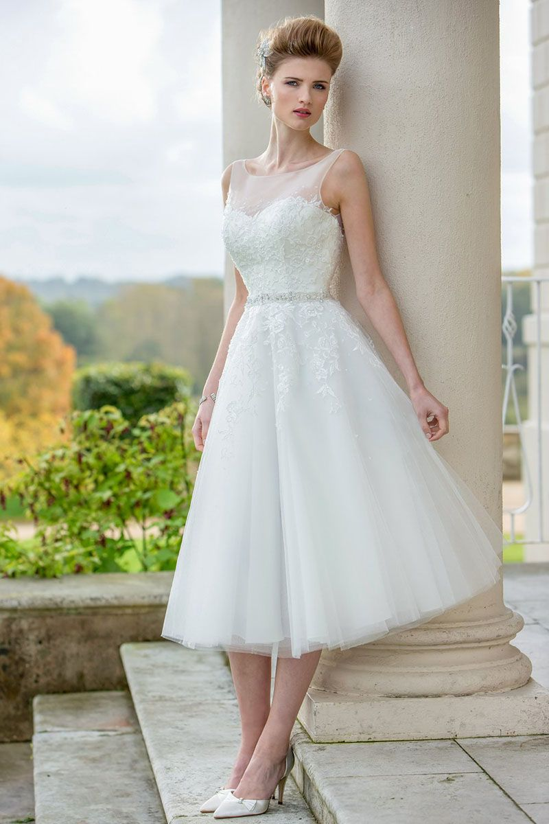 Modern A Line Wedding Dress Features Illusion Sheer Neckline Embroidered Lace Bodice Topped By Tea