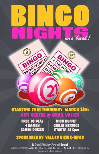 Bingo Night at Quail Valley - Golf, Grille \ Events Public - fundraising flyer